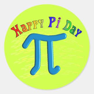 Regalos felices del día del pi, diseño grabado en  pegatina redonda