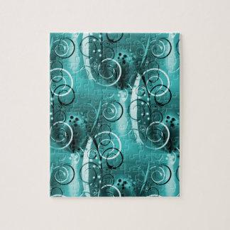 Regalos femeninos azules del remolino de la aguama rompecabezas con fotos