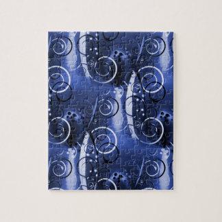 Regalos femeninos de los azules añiles florales ab rompecabeza con fotos