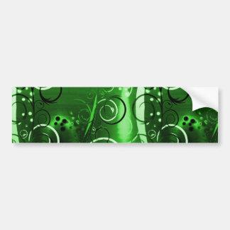 Regalos femeninos del remolino del verde floral ab etiqueta de parachoque
