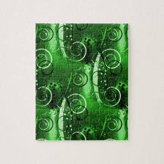 Regalos femeninos del remolino del verde floral ab rompecabezas