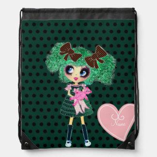 Regalos femeninos esmeralda del chica gótico de mochila