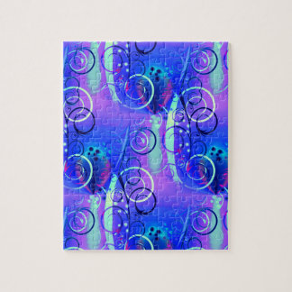 Regalos femeninos púrpuras azules del remolino flo rompecabeza