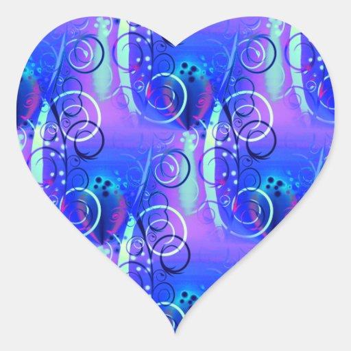 Regalos femeninos púrpuras azules del remolino pegatina en forma de corazón