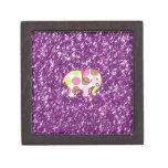 Regalos femeninos púrpuras brillantes del elefante caja de recuerdo de calidad