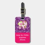 Regalos femeninos púrpuras brillantes del elefante etiqueta de equipaje