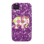 Regalos femeninos púrpuras brillantes del elefante iPhone 4/4S carcasas