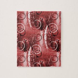 Regalos femeninos rojos del remolino del marrón fl rompecabeza con fotos