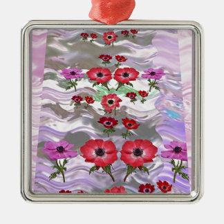 Regalos florales de la flor elegante adorno cuadrado plateado