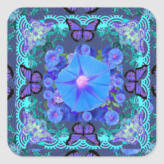 Regalos florales del cordón púrpura de las pegatina cuadrada