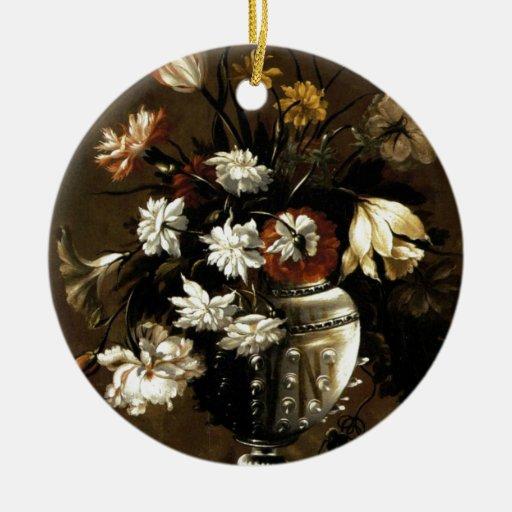 Regalos florales del vintage inspirado adorno redondo de cerámica