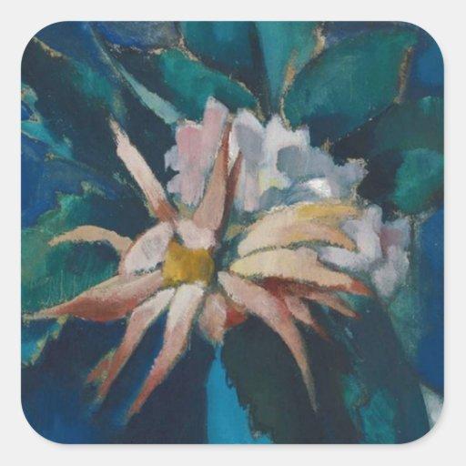 Regalos florales del vintage inspirado pegatina cuadrada