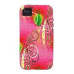 Regalos florales femeninos del verde de las rosas  vibe iPhone 4 carcasas