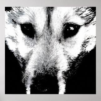 Regalos fornidos del perrito de lobo del poster de