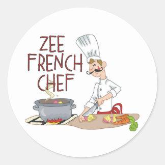 Regalos franceses divertidos del cocinero etiqueta redonda