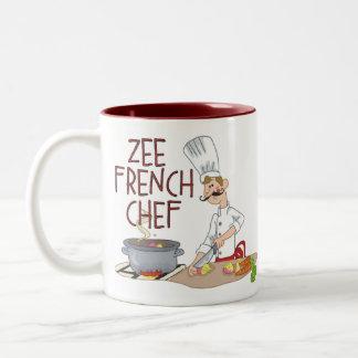 Regalos franceses divertidos del cocinero tazas de café