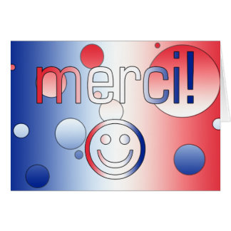 Regalos franceses: Gracias/Merci + Cara sonriente Tarjeta Pequeña