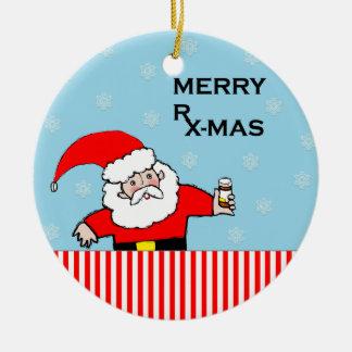 regalos frescos del farmacéutico adorno navideño redondo de cerámica