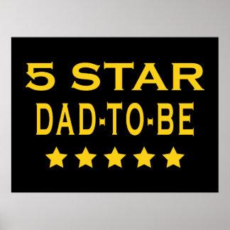 Regalos frescos divertidos Papá de cinco estrella Posters