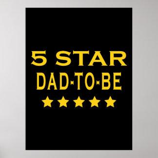 Regalos frescos divertidos Papá de cinco estrella Poster