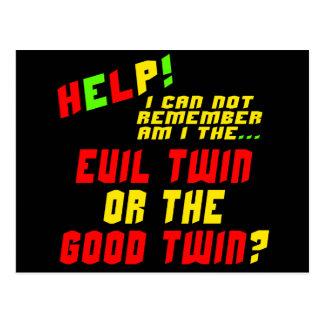 Regalos gemelos malvados divertidos de las postal