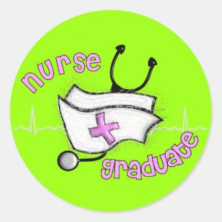 Regalos graduados de la enfermera (diseño del pegatina redonda