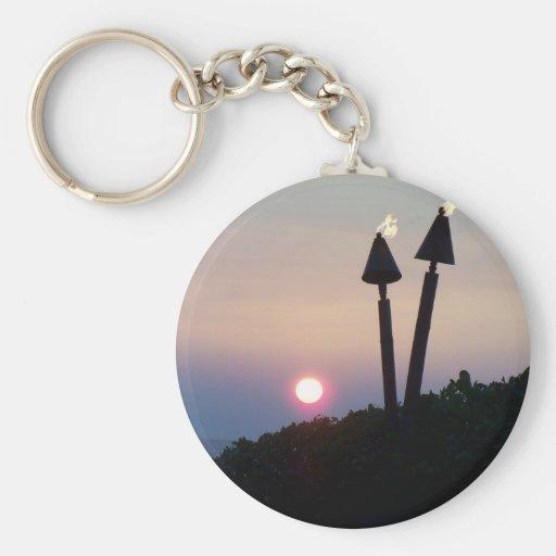 Regalos hawaianos de Luau de la puesta del sol Llavero Redondo Tipo Pin