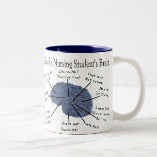 """Regalos hilarantes del """"cerebro"""" del estudiante taza de dos tonos"""