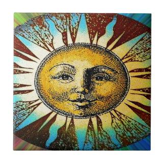 Regalos impresos dios del sol feliz azulejo cuadrado pequeño