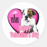 Regalos ingleses del el día de San Valentín del Pegatinas Redondas