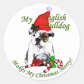 Regalos ingleses del navidad del dogo pegatina redonda