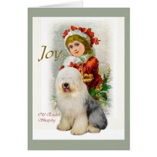 Regalos ingleses viejos del navidad del perro tarjeta de felicitación