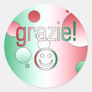 Regalos italianos Gracias Grazie + Cara sonriente Etiqueta Redonda