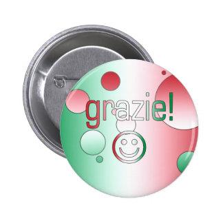 Regalos italianos: Gracias/Grazie + Cara sonriente Pin Redondo 5 Cm