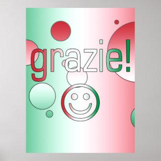 Regalos italianos: Gracias/Grazie + Cara sonriente Póster