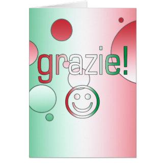 Regalos italianos: Gracias/Grazie + Cara sonriente Tarjeta De Felicitación
