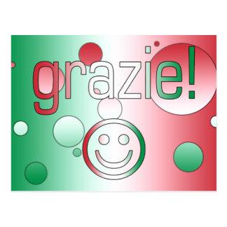 Regalos italianos: Gracias/Grazie + Cara sonriente Tarjetas Postales
