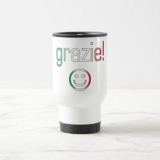 Regalos italianos Gracias Grazie + Cara sonriente Tazas De Café
