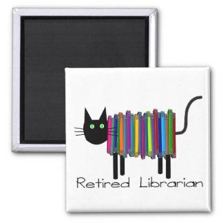 Regalos jubilados del gato del libro del bibliotec imán cuadrado