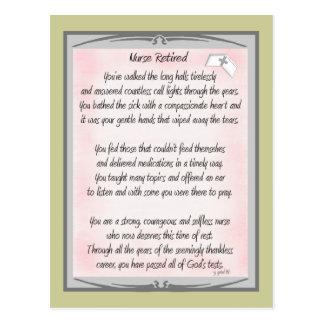 Regalos jubilados del poema de la enfermera por el postales