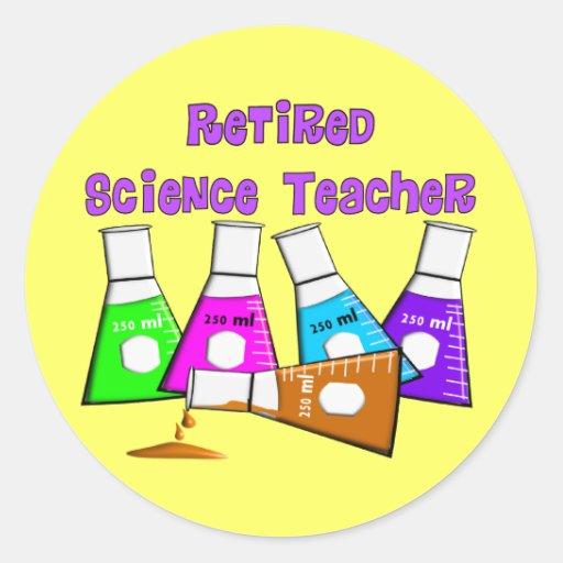 Regalos jubilados del profesor de ciencias etiquetas redondas