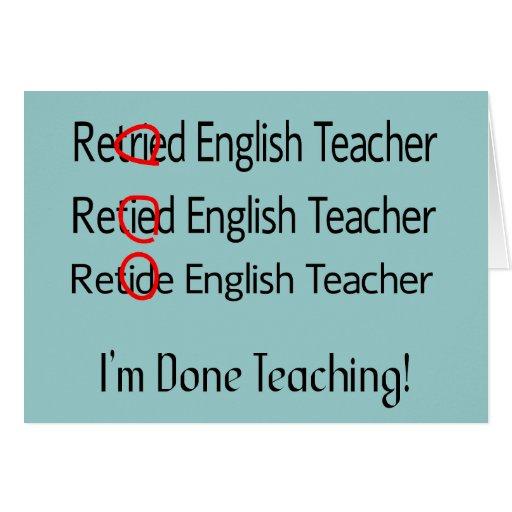 Regalos jubilados del profesor de inglés tarjetón