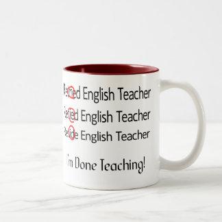 Regalos jubilados del profesor de inglés taza dos tonos