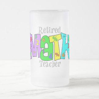 Regalos jubilados del profesor de matemáticas taza cristal mate