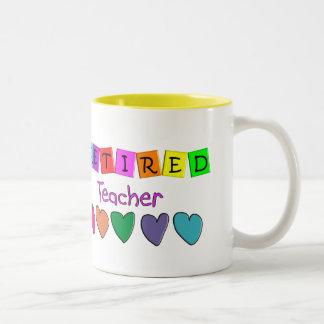Regalos jubilados del profesor taza dos tonos