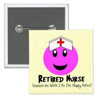 """Regalos jubilados """"smiley feliz de la enfermera de pin cuadrado"""