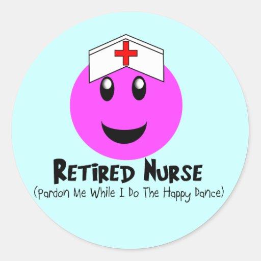 """Regalos jubilados """"smiley feliz de la enfermera pegatina redonda"""