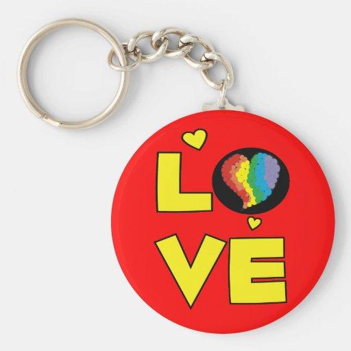 Regalos lesbianos gay del corazón del orgullo del  llavero redondo tipo pin