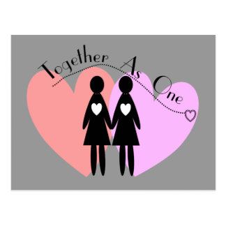 """Regalos lesbianos """"junto como uno """" postal"""