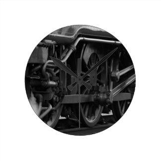 Regalos locomotores del tren del motor de vapor reloj redondo mediano
